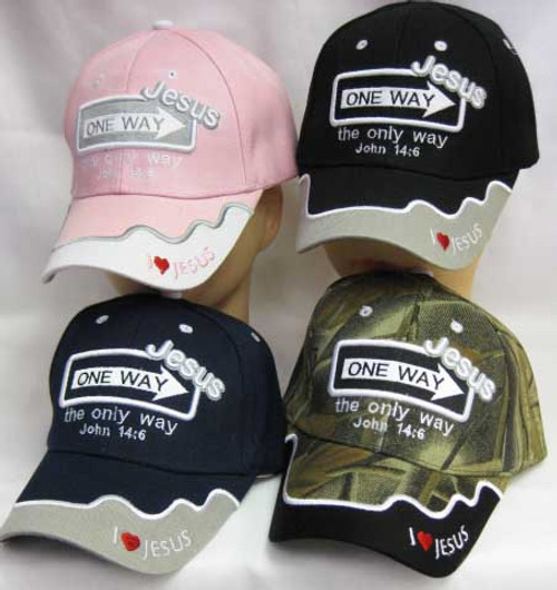 ONE WAY JESUS (Says It all) John 14:6 Christian Hat Baseball Cap