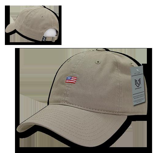Khaki Small US American Flag United States America Polo Tonal Baseball Hat Cap