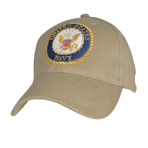 U.S. Navy With Navy Seal Khaki Baseball Cap Hat Officially Licensed