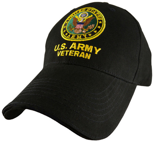 US ARMY Veteran - U.S. Army with Army Seal Baseball Cap Hat Officially Licensed