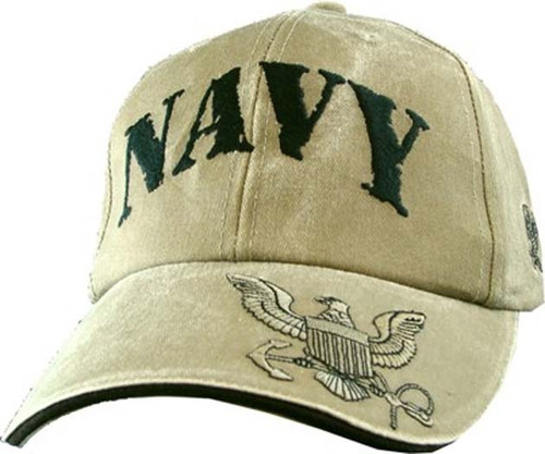 U.S. Navy with Navy Insignia Khaki Officially License Military Hat Baseball Cap