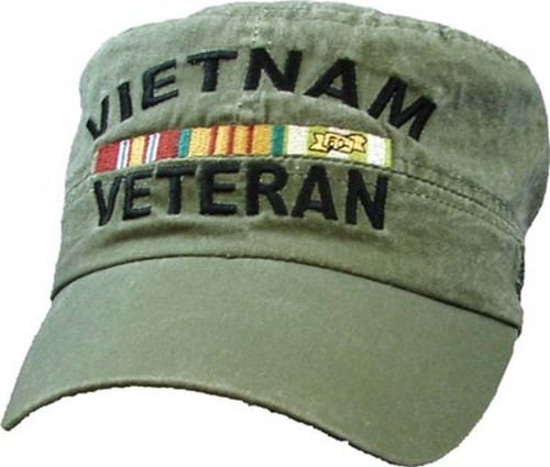 Vietnam Veteran With Ribbon Flat Top ODG Miltary Hat Baseball Cap