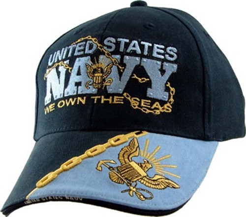 U.S. Navy WE OWN THE SEAS with Navy Insignia Navy Blue Baseball Cap Hat