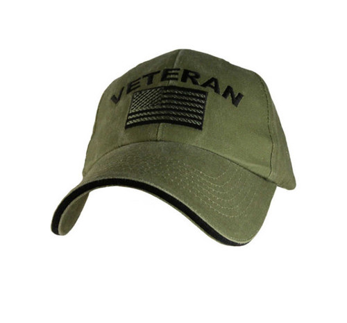 US ARMY Veteran - U.S. Army with Flag OD Green Baseball Cap Hat