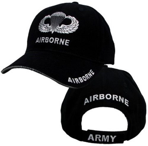 82nd Airborne Hat With Wings - U.S. Army Black With Jump Wings Baseball Cap Hat