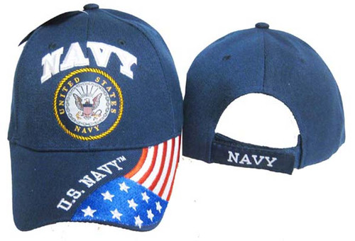 U.S. Navy OFFICIALLY LICENSED Embroidered With Seal & Flag Baseball Cap Hat