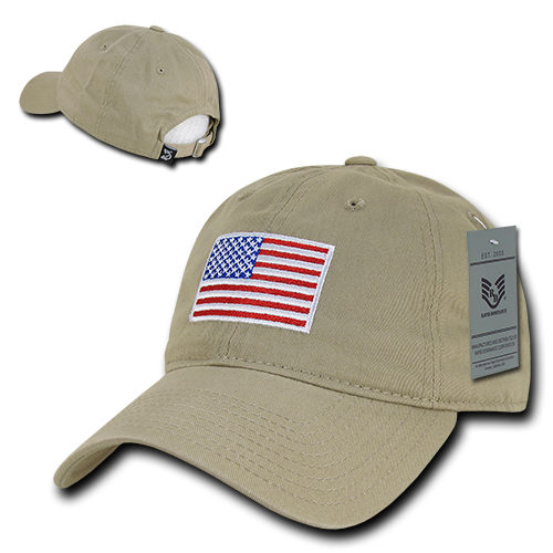 Khaki US Red White   Blue American Flag United States America Polo Tonal  Baseball Hat Cap f9827afee99c
