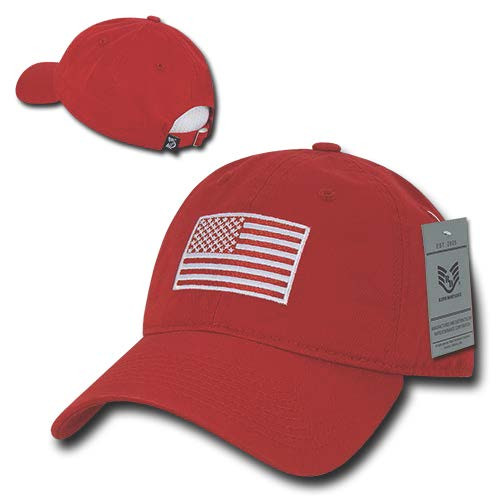 Red US American Flag Patch United States America Polo Tonal Baseball Hat Cap