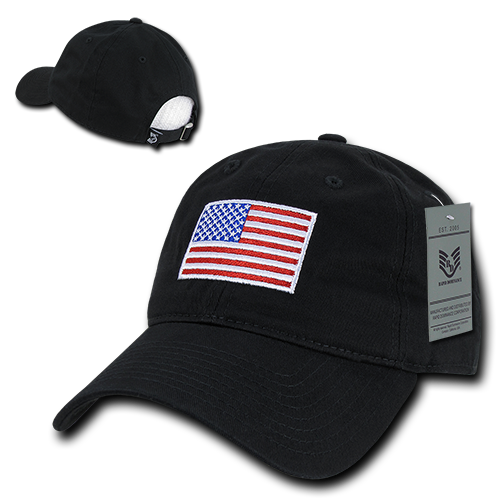 Black Red White & Blue US American Flag United States America Polo Tonal Baseball Hat Cap