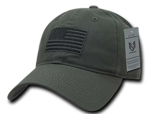 Olive USA US American Flag Patch Relaxed Graphic Tonal Polo Hat Baseball Cap