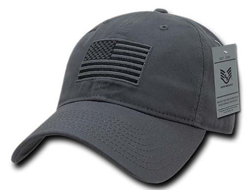 Gray US American Flag Patch United States America Polo Tonal Baseball Hat Cap