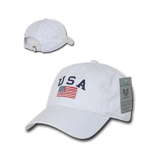 White USA Flag Patch United States American Patriotic Polo Baseball Cap Hat