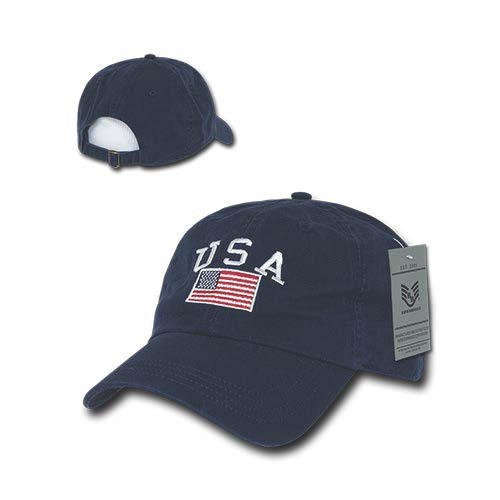 Navy Blue USA Flag Patch United States American Patriotic Polo Baseball Cap Hat
