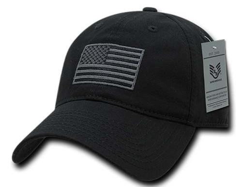 Black US American Flag Patch United States America Polo Tonal Baseball Hat Cap