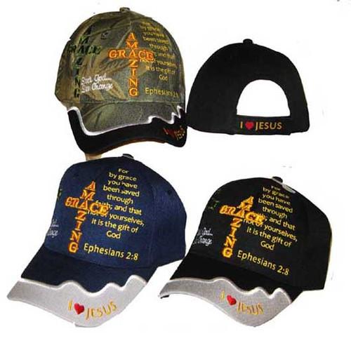 AMAZING GRACE Ephesians 2:8 Christian Hat Baseball Cap Saved By Grace