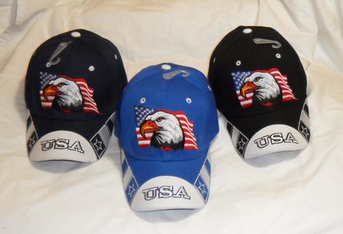 American Flag USA Bald Eagle Patriotic Hat Baseball Cap Embroidered Eagle & Flag