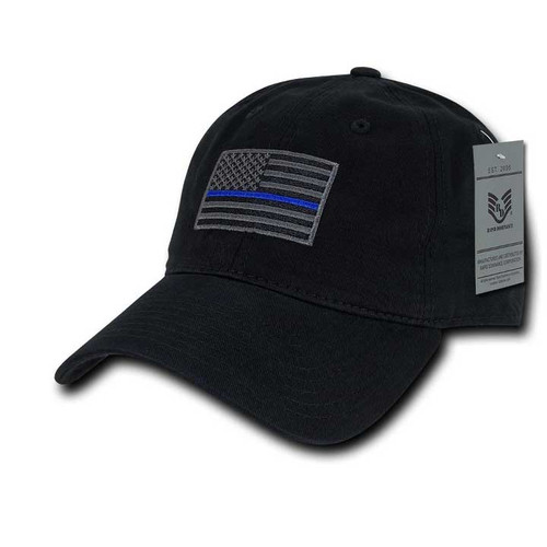 Thin Blue Line Black US American Flag Patch Relaxed Graphic Baseball Hat Cap
