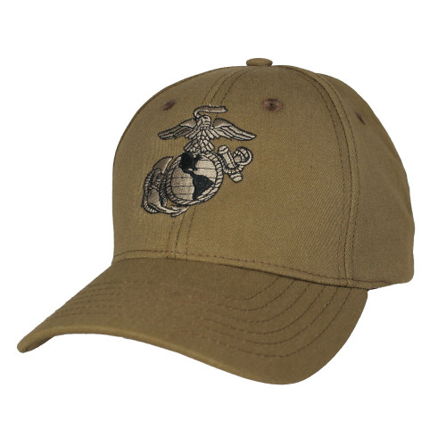 US MARINE CORPS USA MADE Officially Licensed Coyote Brown Eagle Globe Anchor Military Hat Baseball Cap