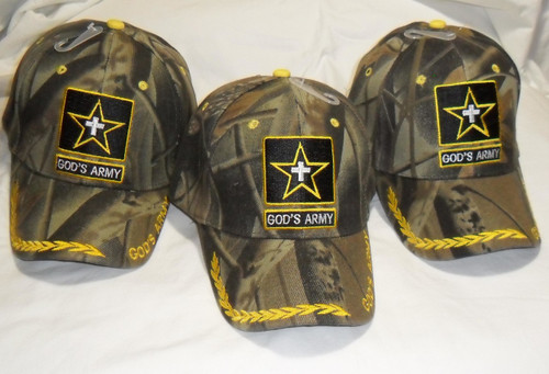 3 Pack GODS ARMY Camouflage CHRISTIAN HAT BASEBALL CAP Great way to share your faith