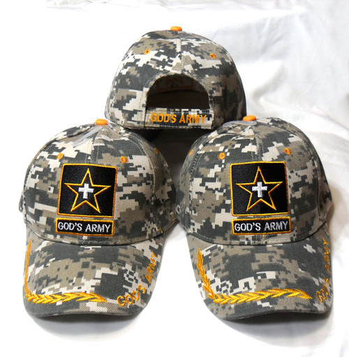 3 Pack GODS ARMY ACU CHRISTIAN HAT BASEBALL CAP Great way to share your faith
