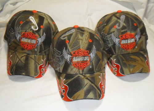 3 Pack  Jesus Is LORD Camouflage Romans 10:9 Christian Hat Baseball Cap Gift (Profess your faith)