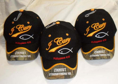 (3 Pack) I CAN DO ALL THINGS THOUGH HIM PHILIPPIANS 4:13 CHRISTIAN HAT BASEBALL CAP
