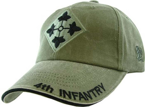 US ARMY 4th INFANTRY DIVISION - U.S. Army OD Green Military Baseball Cap Hat