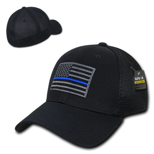 TBL Black USA American Flag Tactical Operator Mesh Flex Fit Baseball Hat Cap 30777adf793