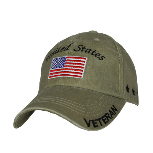 US Military Veteran - U.S. Military with Flag Khaki Baseball Cap Hat