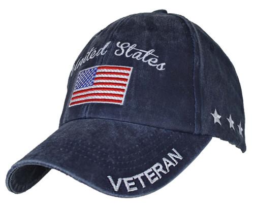 US Military Veteran - U.S. Military with Flag Washed Navy Blue Baseball Cap Hat