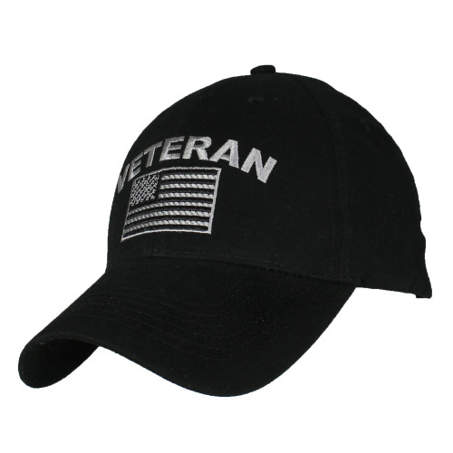 US Military Veteran - U.S. Military with Flag Black Baseball Cap Hat