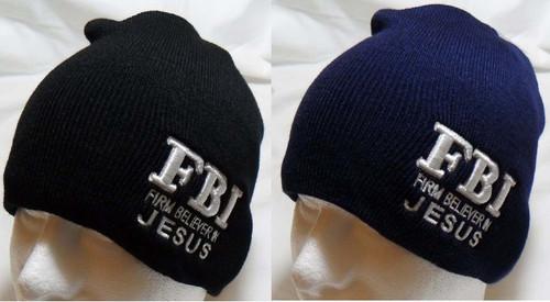 F.B.I. Firm Believer In Jesus Christian  Watch Cap Beanie Winter Ski Hat Toboggan