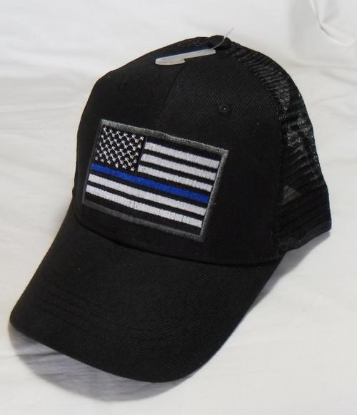 Thin Blue Line Black Mesh US American Flag Patch Baseball Hat Cap(Respect Those That Serve)