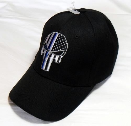 Black TBL Punisher Skull American Flag Thin Blue Line Tactical Baseball Hat Cap
