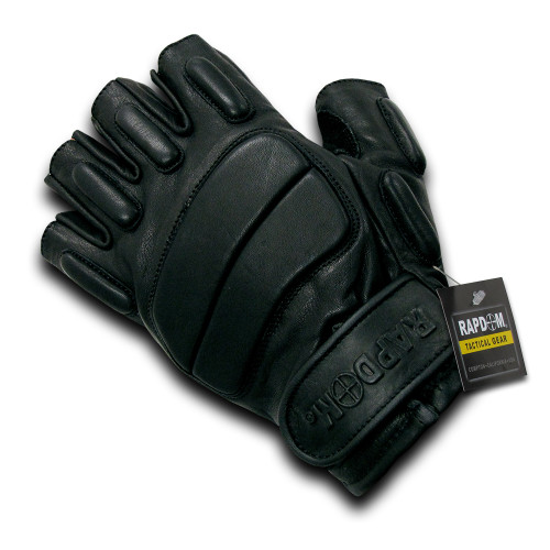 Half Finger Riot Foam padded knuckle plate Gloves Glove Sizes S to 2XL
