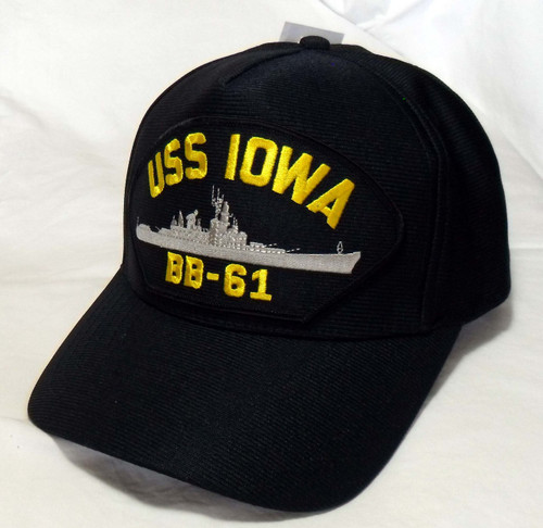 40bb6d06b79dd USS IOWA BB-61 US NAVY SHIP HAT OFFICIALLY LICENSED Baseball Cap Made in USA