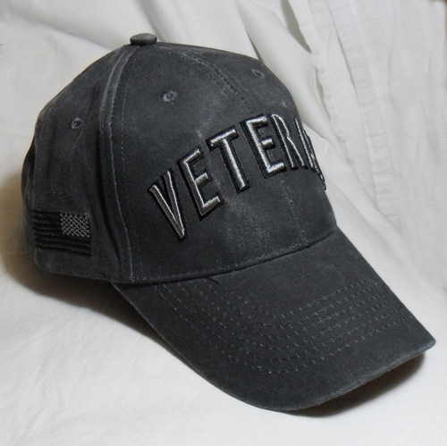 ecb9b702 US Military Veteran - Washed Black with Flag and Bold Lettering Baseball  Cap Hat