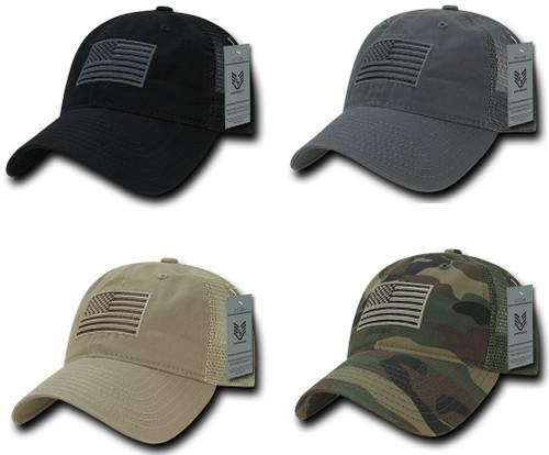 Relaxed Trucker USA American Flag Polo Tonal Mesh Back Baseball Hat Cap