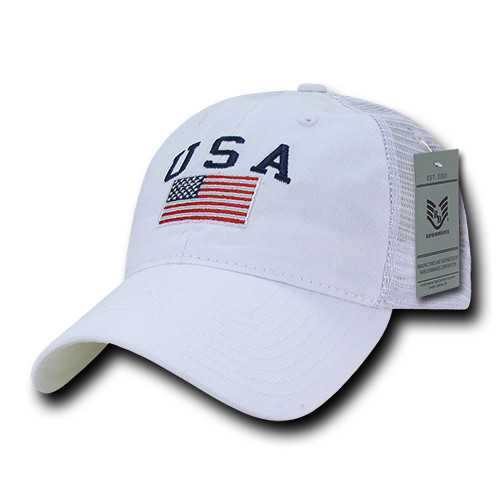d09dd6c3ee56b Relaxed Trucker RWB USA American Flag Polo Tonal Mesh Back Baseball Hat Cap