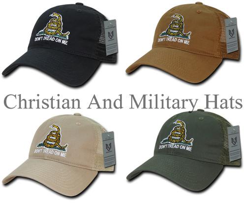 Gadsden Don't Tread On Me Low Crown Mesh Back Baseball Hat Cap