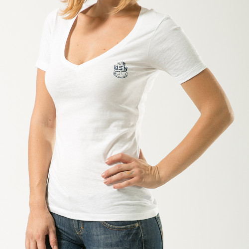 US NAVY United States Navy Women's V-Neck Military T-Shirt Officially Licensed