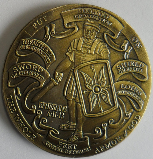 Whole Armor of God Ephesians 6-10-12 High Relief Challenge Coin