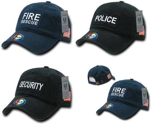 Dual Flag Public Service Raid Cap Fire Rescue, Police, Security Hat Baseball Cap