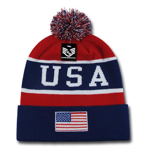 Navy/Red USA Flag Winter Beanie Toboggan Ski Knit Cap
