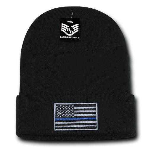 Thin Blue Line Watch Cap Cuff Beanie Winter Ski Hat Toboggan Cap (Respect Those That Serve)