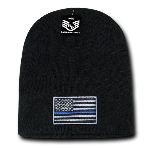 Thin Blue Line Watch Cap Cuffless Beanie Winter Ski Hat Toboggan Cap (Respect Those That Serve)