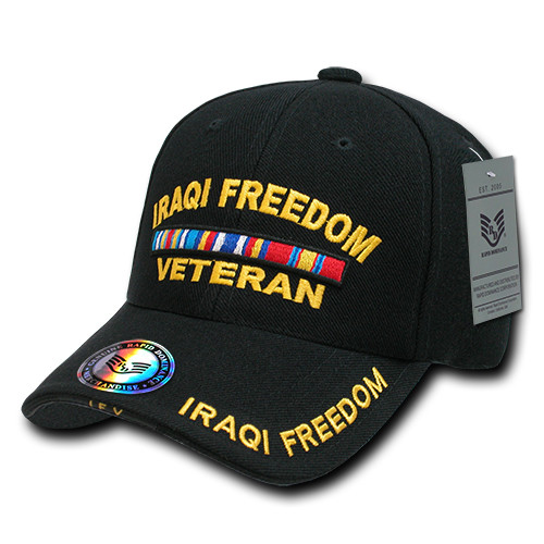 Iraqi Freedom Veteran with Ribbons Military Hat Baseball Cap (You Are Appreciated)