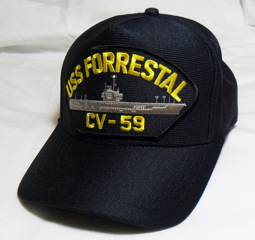 USS FORRESTAL CV-59 US NAVY SHIP HAT OFFICIALLY LICENSED Baseball Cap Made in USA