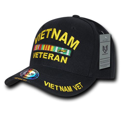 Vietnam Veteran with Ribbons Black Military Hat Baseball Cap Hat