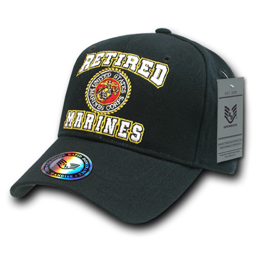 Black Retired United States US Marines Corps USMC OFFICIALLY LICENSED Baseball  Cap Hat d58e95f87b60
